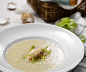 Rybí polévka s pórkem
