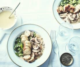 Boudins blancs à la truffe, sauce crémeuse aux marrons et champignons