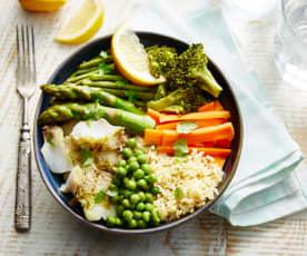 Poke bowl de colin et légumes verts (sous-vide)