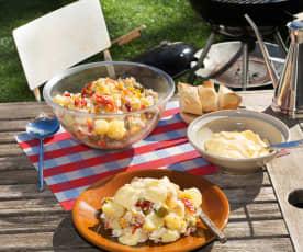 Ensaladilla de patata, huevos, atún y palitos de cangrejo
