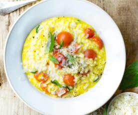 Risotto au safran, pecorino et tomates