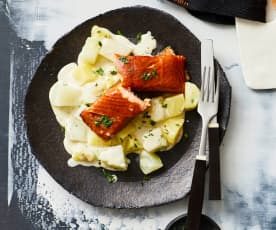 Kartoffel-Kohlrabi-Gemüse à la Creme mit Stremellachs