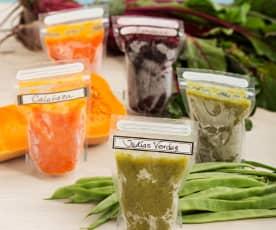 Purés de verduras al vapor congelados (judías verdes, calabaza y remolacha)