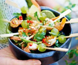 Brochettes de crevettes marinées au lait de coco