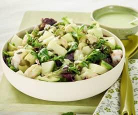 Ensalada verde con melón, aguacate y cigalas