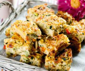 Quadrados de legumes e massa vermicelli
