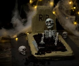 Deathly gravestone cake