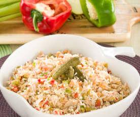 Ensalada de arroz basmati con champiñones y atún