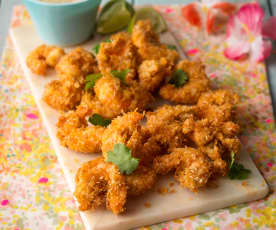 Coconut-crusted King Prawns with Citrus Mustard Dip