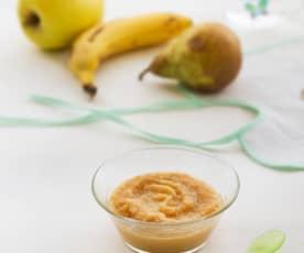 Papilla de plátano, pera y manzana