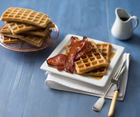 Gluten free waffles with maple bacon
