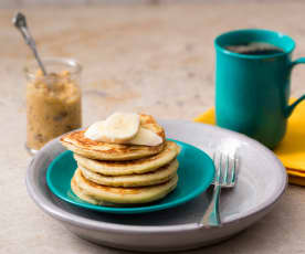 Ricotta and banana pancakes with honeycomb butter