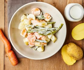 Insalata tiepida di verdure con condimento alla senape