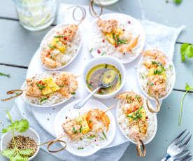 Minibrochettes de saumon, ananas et crevette