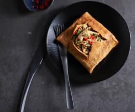 Tortilla thai rellena de pollo