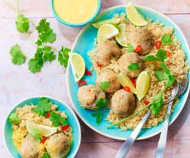 Boulettes de lieu au gingembre, sauce coco curry