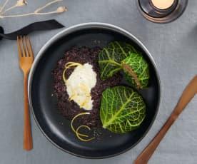 Balluchons de chou aux champignons et riz venere