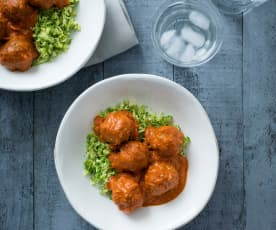 Indian kofta curry with broccoli rice