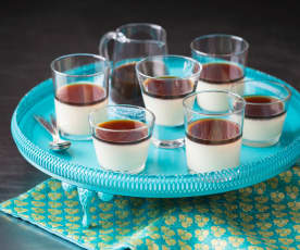 Soy milk jellies with coffee syrup