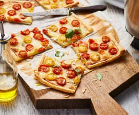 Tarte fine tomates cerise, mozzarella et thon