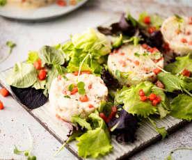 Tartar de pescado y sandía