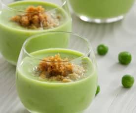 Crema de guisantes dulces y polvo de kikos (Salvador Gallego)