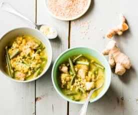 Soupe complète haricots verts, lentilles corail, porc et épices