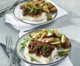 Bacalao con costra de beicon y champiñón con patatas al vapor
