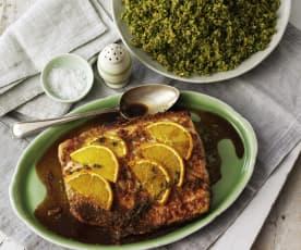 Salmone all'arancio con cous cous di broccoli