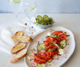Gin-cured ocean trout salad