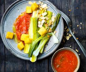 Poireaux, oignons, tomate et croûtons de polenta