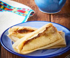 Tamales de dulce de leche y cacahuate