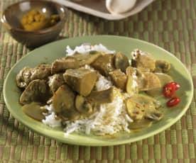 Curry-Huhn mit Champignons und Basmatireis