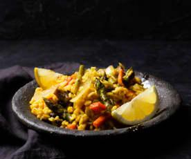 Arroz vaporizado con verduras y cítricos (Cocción de arroz)