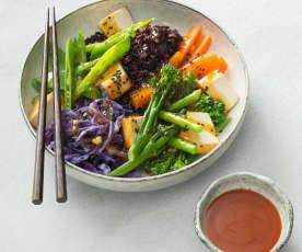 Sticky Sriracha tofu bowl