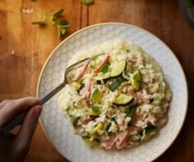 Risotto alle zucchine e prosciutto affumicato