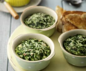 Potted Eggs with Spinach and Bacon