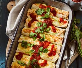 Überbackene vegetarische Enchiladas