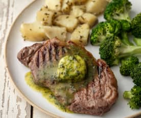 Sirloin Steaks and Herb Butter with Rosemary Potatoes and Broccoli