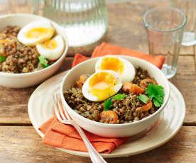 Mijoté de lentilles aux carottes et œufs mollets