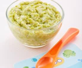 Papilla de arroz, ejote y pimiento