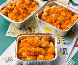 Macaroni and cheese con beicon y crujiente de maíz