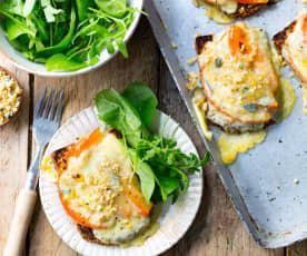 Tartines au potimarron et fromage à raclette