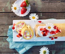Erdbeer-Quarkroulade