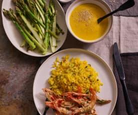 Menu para 6: Creme de cenoura e caril & gambas com arroz de açafrão