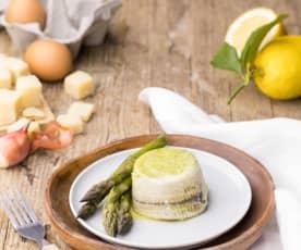 Flan van asperges met zeetong