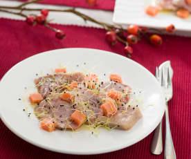 Ventresca de atún rojo con gelatina de tomate