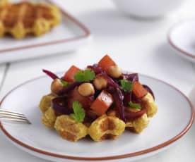 Waffles de batata-doce e tomilho com molho de tomate