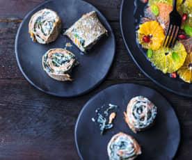 Makis bretons au saumon fumé, salade d'agrumes