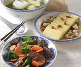 冬瓜海帶湯、鮮菇豆腐&清蒸花素